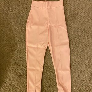 Dusty Pink Faux Leather Split Cropped Trouser